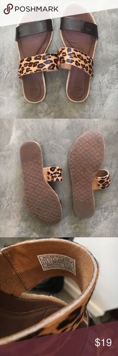 Ugg Leopard Print Leather Sandals Ugg brand sandals with a black leather band and a leopard print band. Super classy and cute! Barely worn. Women's 8.5 UGG Shoes Sandals