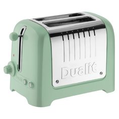 Dualit 26268 Lite 2 Slot Toaster - Pistachio Green ($71) ❤ liked on Polyvore featuring home, kitchen & dining, small appliances, stainless toaster, two slice toaster, 2 slice toaster, stainless steel toaster and mint green toaster