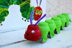 Very Hungry Caterpillar craft from egg cartons