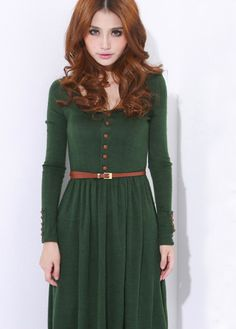 Green Vintage Long-sleeved Sweater Dress