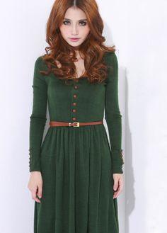 #SheInside  Green Vintage Long-sleeved Sweater Dress