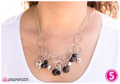 black and silver beads, silver links necklace $5