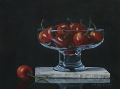 Pita Vreugdenhil | OIL | Still Life With Glass Cup and Cherries