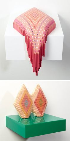 Sculptures made with colored pencils by Lionel Bawden. Love!