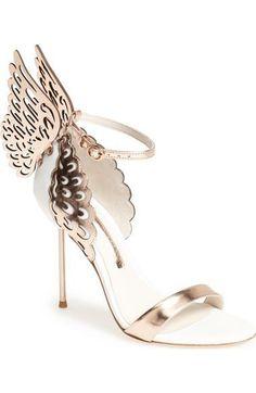 'Evangeline' White/Rose Gold Leather Sandal