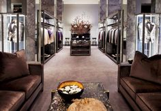"""I want a closet that looks like the Los Angeles Tom Ford store.  """"Every time I think Tom Ford has better taste than anyone, he proves me right. Go soak it in. Then copy what you can at home. If you can afford to knock off his marble walls for a renovation, why not? Or just get the same glasses they serve Perrier in."""" —Jim Moore, GQ creative director"""