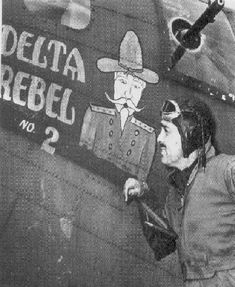 """""""Delta Rebel 2"""" B-17 """"Flying Fortress""""   Pictured is 1st Lt. Clark Gable, who was filming the documentary """"Combat America."""""""