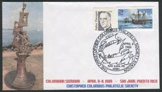"United States Scott #2805 (19 Nov 1993) Columbus landing in Puerto Rico plus Father Flanagan stamp (#2171) on cover commemorating the Christopher Columbus Philatelic Society ""Puerto Rico Columbus Seminar"" 08-11 April 1999 with joint meeting with the Puerto Rico Philatelic Society. Note the spelling of Columbus (Colombus) in the cancellation.  Cachet: The monument to Christopher Columbus ""Birth of the New World"" in Arecibo, Puerto Rico and is tentatively scheduled to be open in January 2017."