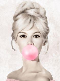 Brigitte Bardot Bubble Gum Black and White Poster, Fashion Pink Bubblegum, Printable Wall Art, Insta. Brigitte Bardot, Bridget Bardot, Arte Marilyn Monroe, Marilyn Monroe Artwork, Blowing Bubble Gum, Black And White Posters, Pink Bubbles, Fashion Wall Art, Hollywood Icons