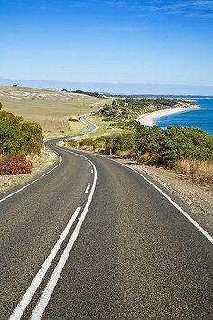 Kangaroo Island near American River coastal drive road scene South Australia Beautiful Roads, Beautiful Places, Vie Simple, Adelaide South Australia, Kangaroo Island, Roadtrip, Australia Travel, Belle Photo, Places To See