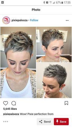 The pixie cut is the new trendy haircut! Put on the front of the stage thanks to Pixie Geldof (hence the name of this cup!), Many are now women who wear this short haircut. Pixie Hairstyles, Pixie Haircut, Cool Hairstyles, Short Haircuts, Wedge Haircut, Super Short Hair, Super Short Pixie Cuts, Haircut And Color, My Hairstyle