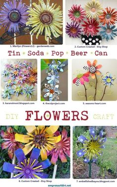 DIY Tin Can Flowers. Want to make some simple flowers to adorn up cycled garden projects… Like making the little yello watering can into a bird house! DIY Tin Can Flowers. Soda Can Flowers, Tin Flowers, Paper Flowers, Simple Flowers, Flowers Garden, Painting Flowers, Spring Flowers, White Flowers, Tin Can Art