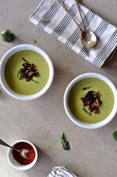 Vegan Broccoli Cheddar Soup with Shiitake Bacon