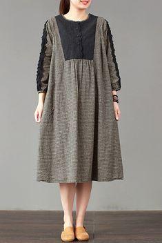 FantasyLinen Plaid Dress, Cotton Loose Dress For Spring Q3013