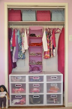 Organized little girls closet - perhaps the girls could use the plastic drawers for toys.