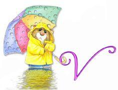 Alfabeto de ratoncito bajo la lluvia. | Oh my Alfabetos!