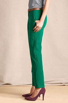 Outfit 5: Women's True Slim Chinos from Lands' End Canvas in Malachite! These slimming green chinos are so fun! #CanvasChinos