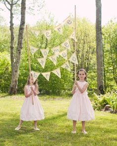 This groom's young cousins carried a banner announcing the bride's entrance