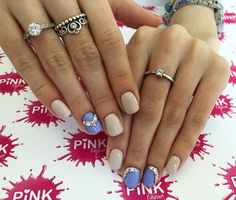 Accurate nails, Beautiful nails 2016, Beige blue nails, Evening dress nails, Evening nails, Nails ideas 2016, Nails trends 2016, Nails with rhinestones