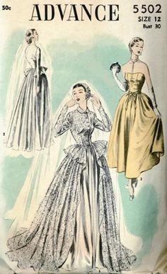1950s BEAUTIFUL WEDDING DRESS BRIDAL GOWN PATTERN DREAMY STYLE ADVANCE 5502