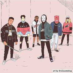 a group of thugs By Wizzadaking Character Concept, Character Art, Concept Art, Photographie Street Art, Samourai Tattoo, Japon Illustration, Black Anime Characters, Art Japonais, Dope Art