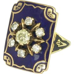 Impressive Beautiful 1920s Colored Diamond, Diamond and Enamel Ring in 14k Gold -- found at www.rubylane.com #vintagebeginshere #jewelry