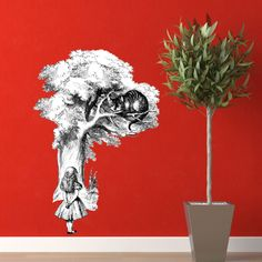 The Cheshire Cat and Alice Vinyl Wall Decal by WilsonGraphics. $30.00, via Etsy.
