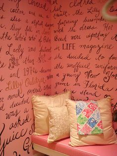 love this idea for a little reading nook or dressing area. Everyone can use a some encouraging words now and then My New Room, My Room, Trendy Kids, Book Nooks, Wall Treatments, Reading Nook, My Dream Home, Tricia Guild, Kids Room