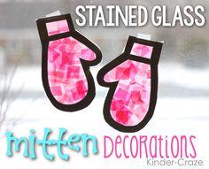 Stained Glass Mitten Window Decor Tutorial - Kinder Craze