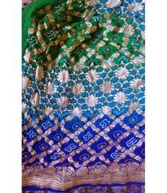 Blue Green Banarasi Bandhani Georgette Saree