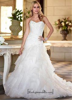 Alluring+Organza+Sweetheart+Neckline+Natural+Waistline+A-line+Wedding+Dress