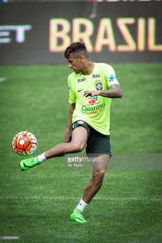 Brazil national team player Neymar kicks the ball during the training session at the Red Bull Arena leading up to the Soccer, 2015 Brazil National Team vs Costa Rica on September 5th 2015 at Red Bull Arena in Harrison, NJ , USA as part of the Brazil Global Tour. Photo �� Ira L. Black