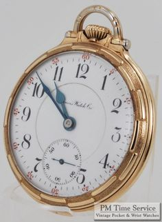 """Our watch highlight for today is this handsome high-grade vintage Illinois 16S 21J """"Sangamo"""" pocket watch, in a yellow gold filled screw back & bezel case featuring unique bar-pattern bezels. For more photos and details, visit our Auctions page... http://stores.ebay.com/PM-Time-Service/_i.html?LH_Auction=1 - watches, smart, the fifth, tissot, pocket, pocket watch *ad"""