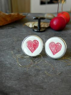 Ceramic Cuff Links Red Heart Novelty Gift Porcelain Cuff Links