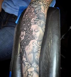 Black Praying Buddha Tattoo On Arms For Males