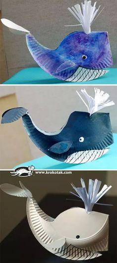 ballena hecha con plato de cartón!