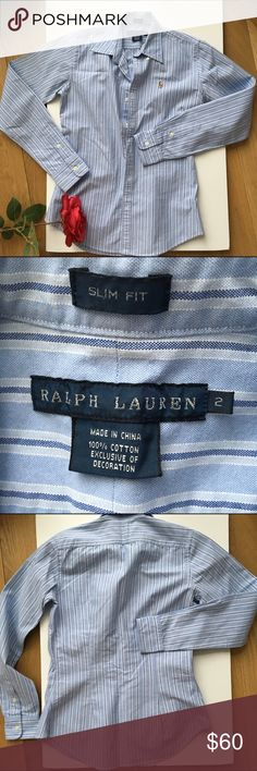🆕Brand new Polo Ralph Lauren blue Oxford shirt Brand new bought & Never worn. Tags removed. A sharp, trim fit defines this washed cotton oxford striped shirt. The timeless style is finished w/ multicolored signature embroidered pony at the left chest.  Button-down point collar. Buttoned placket. Long sleeves with buttoned barrel cuffs. Split back yoke. Shaping darts at the back. Multicolored signature embroidered pony accents the left chest. 100% cotton. Machine washable. No trades Ralph…