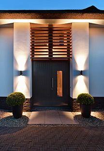 Entrance Design, Entrance Doors, Outdoor Lighting, Outdoor Decor, Garden Architecture, My Dream Home, Home And Living, Bungalow, Villa