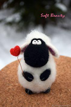 Gift toy felt `Bosya Sheep with a . Wool Needle Felting, Needle Felting Tutorials, Needle Felted Animals, Wet Felting, Felt Animals, Felted Wool Crafts, Felt Crafts, Felt Mouse, Felt Baby