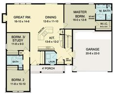 First Floor Plan of Ranch   House Plan 54088