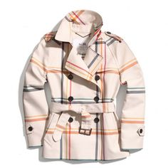 Coach Tattersall Short Trench ($398) ❤ liked on Polyvore featuring outerwear, coats, jackets, coats & jackets, stand collar coat, trench coat, pink trench coat, pink coat and short coat