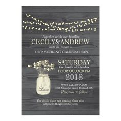 Country Mason Jar Wedding Wood Grain Light Strands Personalized Invites