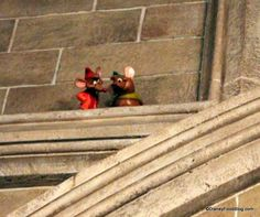 Jaq and Gus peek at diners at Cinderella's Royal Table in #DisneyWorld's Cinderella Castle!