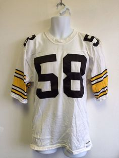 A Pittsburgh Steelers jersey Jack Lambert. Check out other vintage jerseys in my shop Pittsburgh Steelers Jerseys, Baseball Jerseys, Vintage Jerseys, Vintage Football, Jack Lambert, Vintage Hawaii, Make Color, 1980s, Blue And White