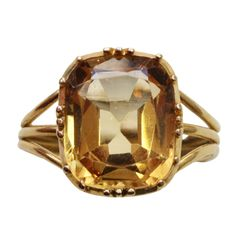 Yellow Topaz Ring | From a unique collection of vintage solitaire rings at…
