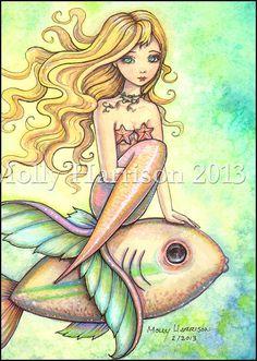 Mermaid Fantasy Watercolor Art Print by Molly by MollyHarrisonArt
