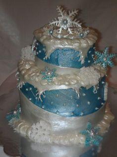 Simply elegent disney froxen cake