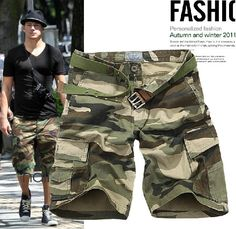 SA//Cool Camouflage camo Military Forest Shorts Swim Sporty Retro Mens