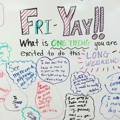 Yahoo for long weekends! It's Fri Yay! Here's what my students are excited to do this weekend! My favorite is the one who is excited to sleep in! Me too, kid!! #miss5thswhiteboard #teachersfollowteachers #memorialdayweekend #thirdgrade