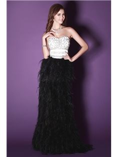 Graceful A-Line Floor-Length Sweetheart Feathers Fur Sandra s Evening Dress  Affordable Evening 8d2bf9f72393